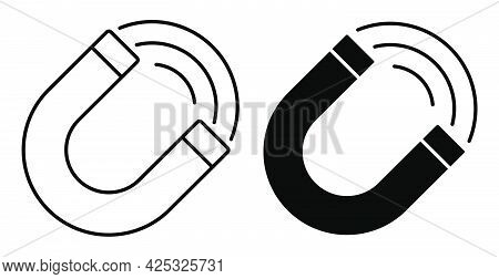 Linear Icon. Horseshoe Magnet With Lines Of Attraction. Studying Physics At School And University. S