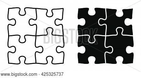 Linear Icon. Pieces Of Puzzle Are Connected Together. Teamwork. Combining Efforts. Puzzle Toy For Ch