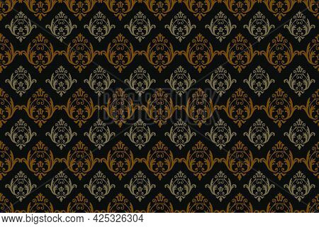 Luxury Baroque Style Seamless Pattern On Black Color Background. Light Brown Color And Light Gray Co