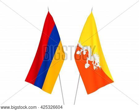 National Fabric Flags Of Armenia And Kingdom Of Bhutan Isolated On White Background. 3d Rendering Il