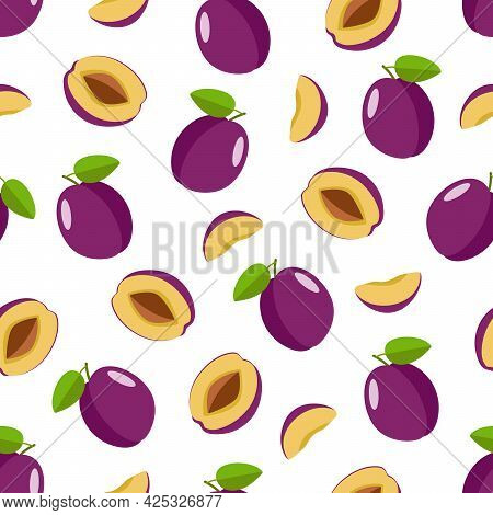 Seamless Pattern Ripe Plum Whole In A Purple Peel, Half A Plum With A Stone And A Plum Slice. Vector