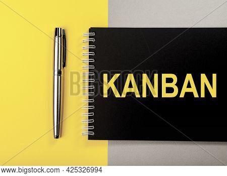 Kanban Or Lean Method In Management Concept. Word On Black Notebook.