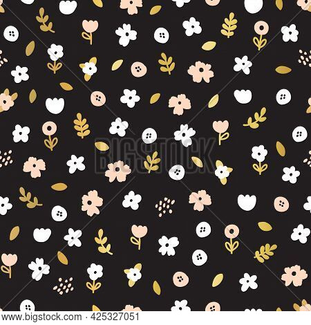 Ditsy Flowers Seamless Vector Pattern White Pink Gold On Black. Minimalistic Background Repeat Tile