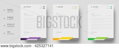 Corporate Modern Letterhead Design Template With Yellow, Purple And Green Color. Creative Modern Let