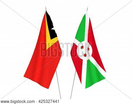 National Fabric Flags Of East Timor And Burundi Isolated On White Background. 3d Rendering Illustrat