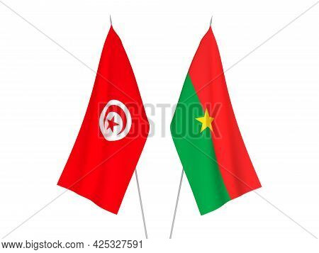 National Fabric Flags Of Burkina Faso And Republic Of Tunisia Isolated On White Background. 3d Rende