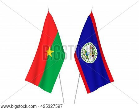 National Fabric Flags Of Burkina Faso And Belize Isolated On White Background. 3d Rendering Illustra