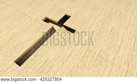 Concept or conceptual beige cross on a travertin stone background. 3d illustration metaphor for God, Christ, Christianity, religious, faith, holy, spiritual, Jesus, belief or resurection