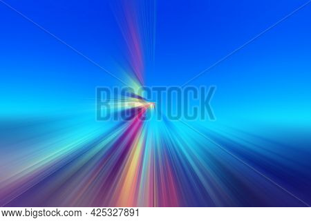 Abstract Surface Of Radial Blur Zoom  In Blue, Pink, Yellow Tones. Spectacular Blue Pink Background