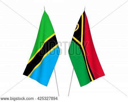 National Fabric Flags Of Tanzania And Republic Of Vanuatu Isolated On White Background. 3d Rendering