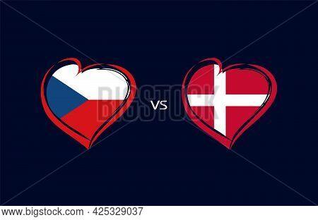 Czech Republic Vs Denmark, Flag Emblems. National Team Soccer Icons On Blue Background. Czechs And D