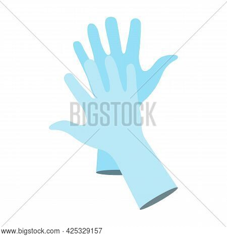 Blue Protective Rubber Or Nitrile Gloves. Pair Of Medical Latex Gloves. Protection Against Coronavir