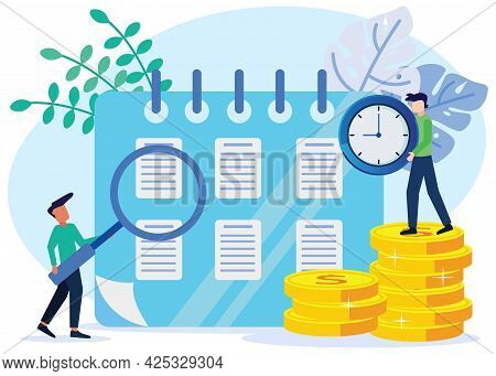 Vector Illustration Of Flat Style Pay Check, Salary Or Payroll Concept. The Director Raised The Cloc