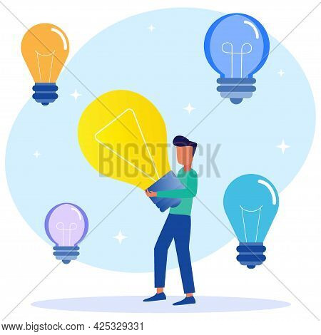 Flat Cartoon Colorful Vector Illustration. Happy Genius Young Man Holding Light Bulb. The Concept Of