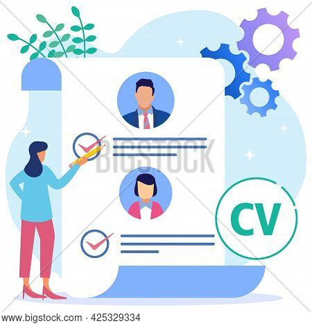 Flat Style Cartoon Vector Illustration. Female Lead Stands In Front Of The List Of Job Applicants. C
