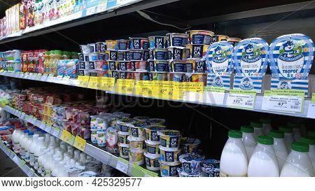 St. Petersburg, Russia - April 16, 2021: Dairy Products, Milk, Yogurt On Supermarket Shelves. Retail