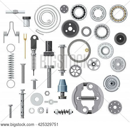 Isolated Bolt, Screw, Nut And Washer, Spring, Gear Or Cogwheel With Bearings. Cartoon Vector Mechani