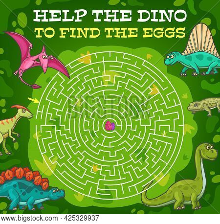 Labyrinth Maze Help Dinosaur Find The Egg. Vector Kids Game With Cartoon Reptiles In Jungle And Roun