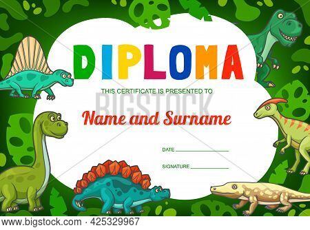 Kids Diploma With Cartoon Dinosaur Reptiles, Cute Vector Dragons, Funny Dino Characters. School, Kin