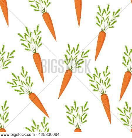 Seamless Pattern Of Fresh Carrots With Green Leaves.