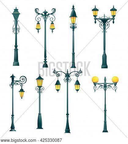 Old Street Light Pillar And Lamppost, Vector Isolated Streetlight And Streetlamps. Vintage Lamp Post
