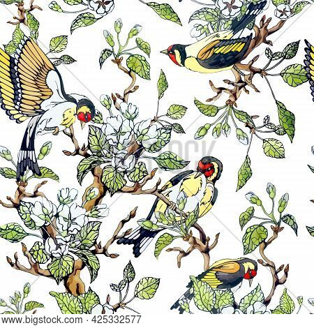 European Goldfinch Bird And Apple Tree Flowers Seamless Pattern. Ornament Of Blossom Twigs, Green Le