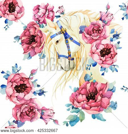 Seamless Pattern With White Horse And Pink Peony Rose Flowers. Watercolor Decor On Spring Pion Motif