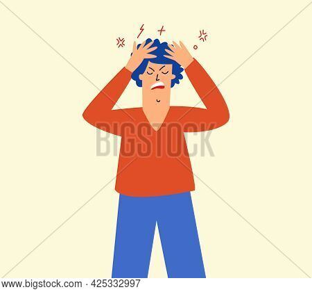 An Angry, Irritated Man Holds His Head. Irritation, Migraine, Impotence