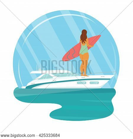 Speed Yacht With Surfer Body Positive Woman In Sea, Ocean. Summer Vacation Seaside Concept. Vector S