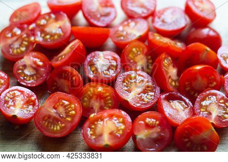 Fresh Cherry Tomatoes Cutted In Halves. Healthy Food, Cooking At Home Fresh Salad