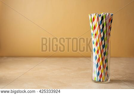 Colorful Paper Straws. Event And Party Supplies. Biodegradable Straws, Pollution Concept. Zero Waste