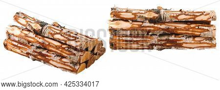 Birch Firewood Without Bark Isolated On White.
