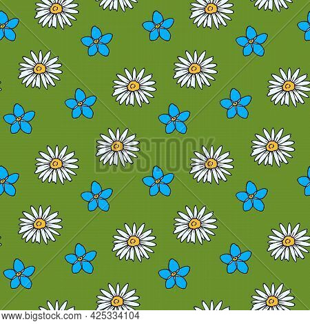 Seamless Pattern With Flowers Forget-me-not And Chamomile On Green Background. Vector Image.