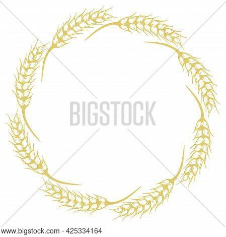 Round Frame Of Spikelets, Vector Illustration. Circular Frame Of Ear With Grain. Collected In Autumn