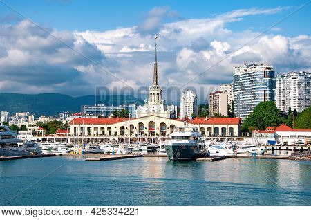 Sochi, Russia - June 1 , 2021: Marine Station Port Of Sochi, Krasnodar Krai, Russia .seaport In Soch