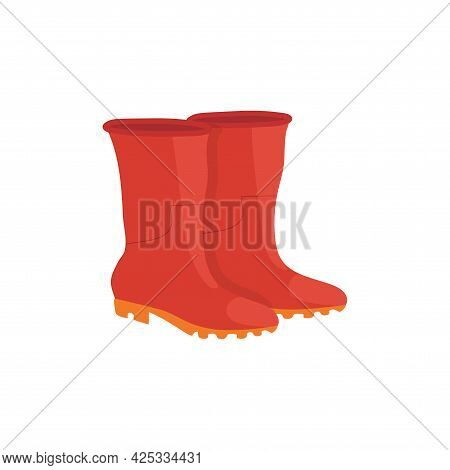 Pair Of Red Rubber Boots With Yellow Soles On White Background Isolate
