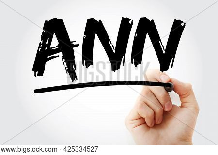 Ann - Artificial Neural Network Acronym With Marker, Technology Concept Background