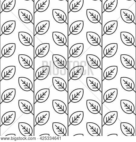 Seamless Floral Pattern. Repeating Texture Of Leaf Outline On White Background. Flat Silhouette Simp
