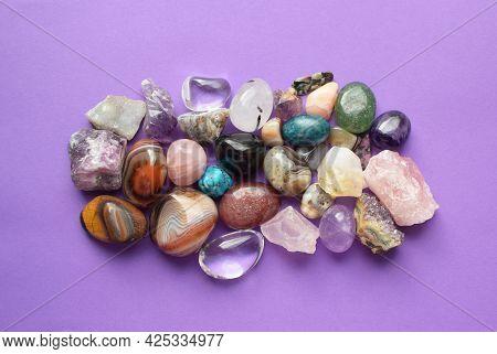 Gems Of Various Colors. Amethyst, Rose Quartz, Agate, Apatite, Aventurine, Olivine, Turquoise, Aquam