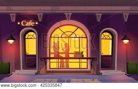 Girls In Cafe, Women Silhouettes In Window Drink Tea And Talking Inside Of Coffee Shop, View Form Ou