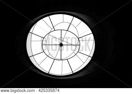 Round Shaped Abstract Geometric Window On Dark Background