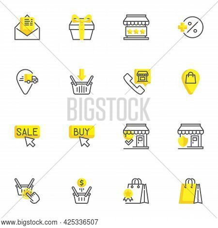 E-commerce And Shopping Line Icons Set, Outline Vector Symbol Collection, Linear Style Pictogram Pac