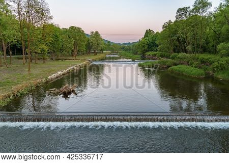 Vistula River In Ustron In Southern Poland At Dusk
