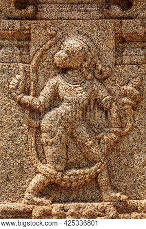 Bas relief depicting Hindu god Hanuman in Achyutaraya Temple. Hampi, Karnataka, India