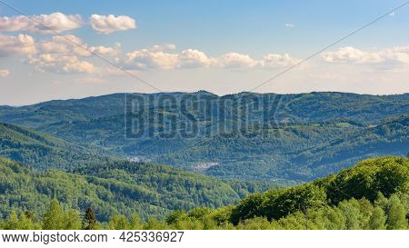 Summer Landscape Of Beskid Mountains Seen From The Summit Of Rownica Mountain