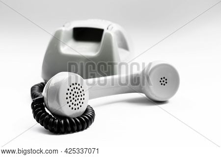 Telephone Receiver On White Background.telephone Receiver On White Background