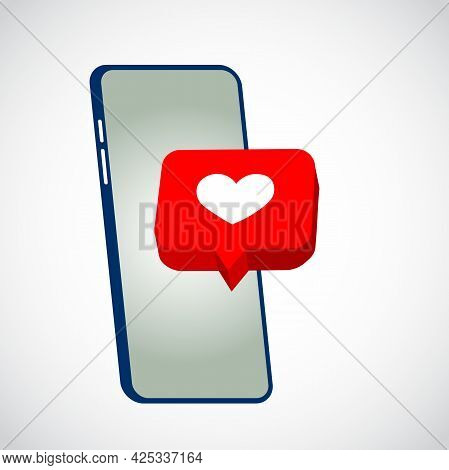 Smartphone With Like Button. Cell Phone With Like And Heart Emoji Speech Bubble. Social Media Like I