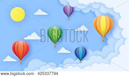 Beautiful Balloons Flying Over Fluffy Clouds In The Blue Sky To The Sun. Greeting Card, Background,