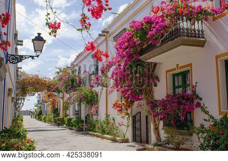 Beautiful Street In Puerto Mogan Town, Gran Canaria Island , Spain