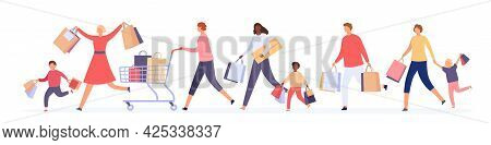 People Crowd Running For Sale. Women And Men Customers With Shopping Bags Race For Big Discount. Bla